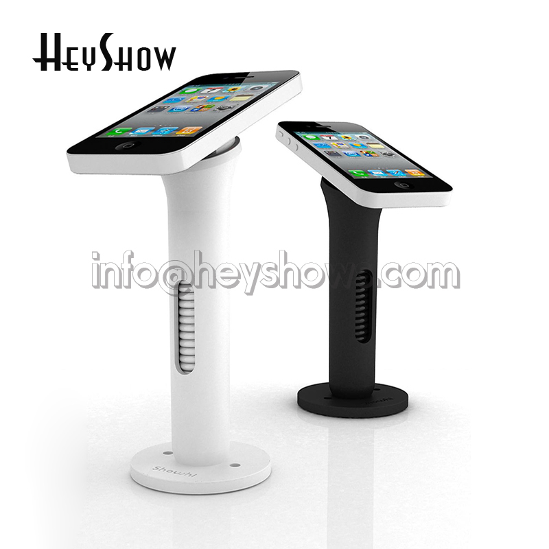 все цены на Mobile phone security stand cell phone display holder white and black anti-theft for retail shop with hiden retractable wirre