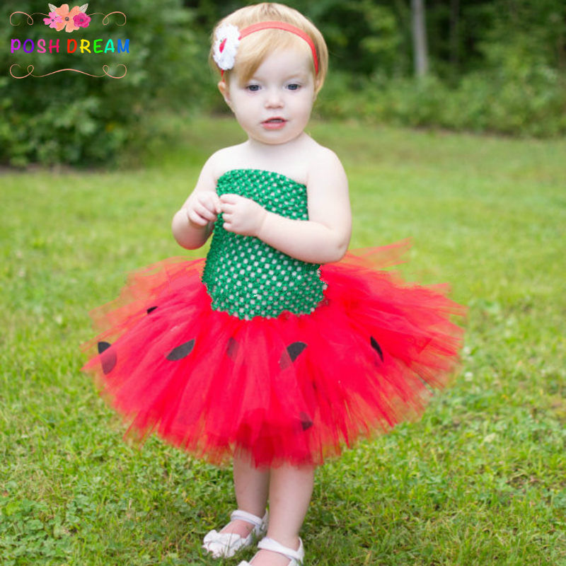 75de6edc6203 POSH DREAM Summer Strawberry Tutu Dress Birthday Photo Prop Halloween  Costume Spring Summer Fun Red Green Baby Girl Dresses-in Dresses from  Mother & Kids on ...