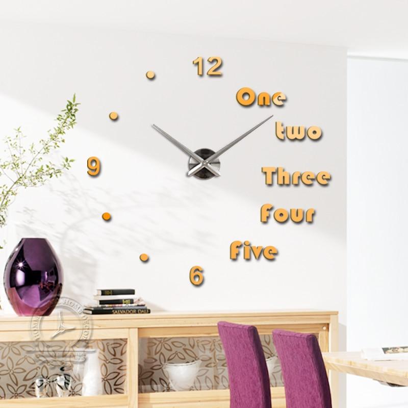 Fashion 3D big size mirror wall stickers clock Modern design DIY