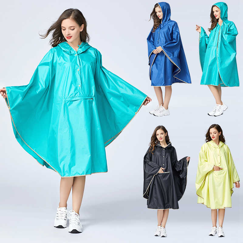 Women's Stylish Polyester Waterproof Rain Poncho Cloak Colorful Raincoat with Hood Zipper and Big Pocket on Front.