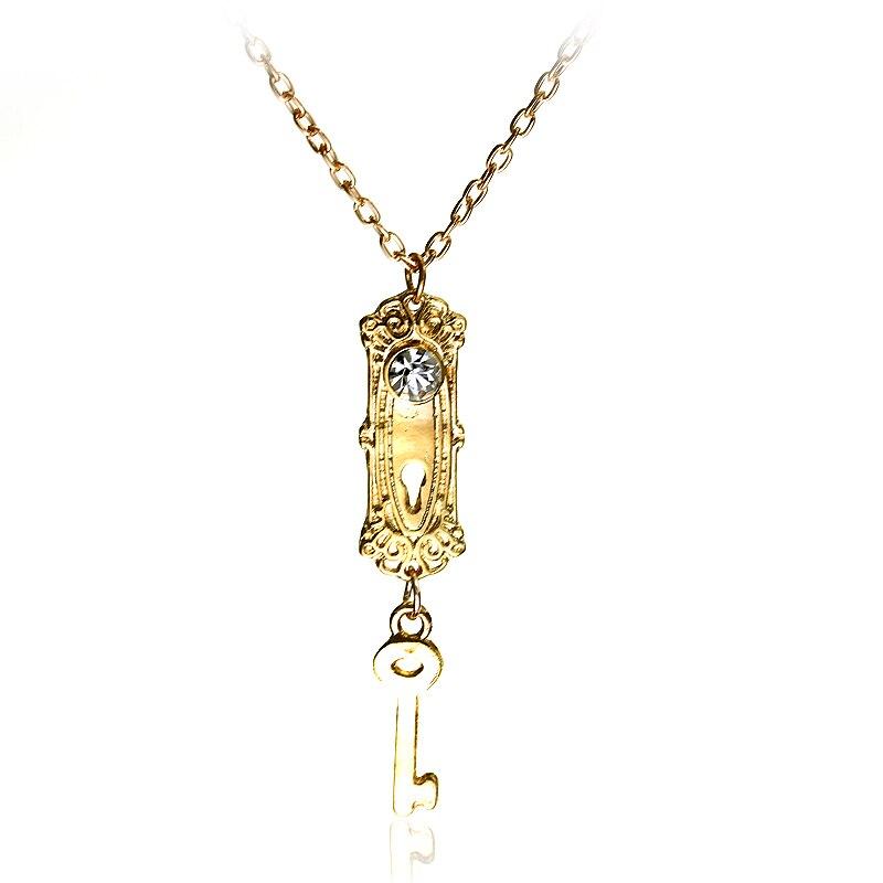M2 Fashion Movie Alice in Wonderland Enchant Necklace Lock & Key Crystal Stone Gold Pendant Women Beautiful Necklace Choker Gift