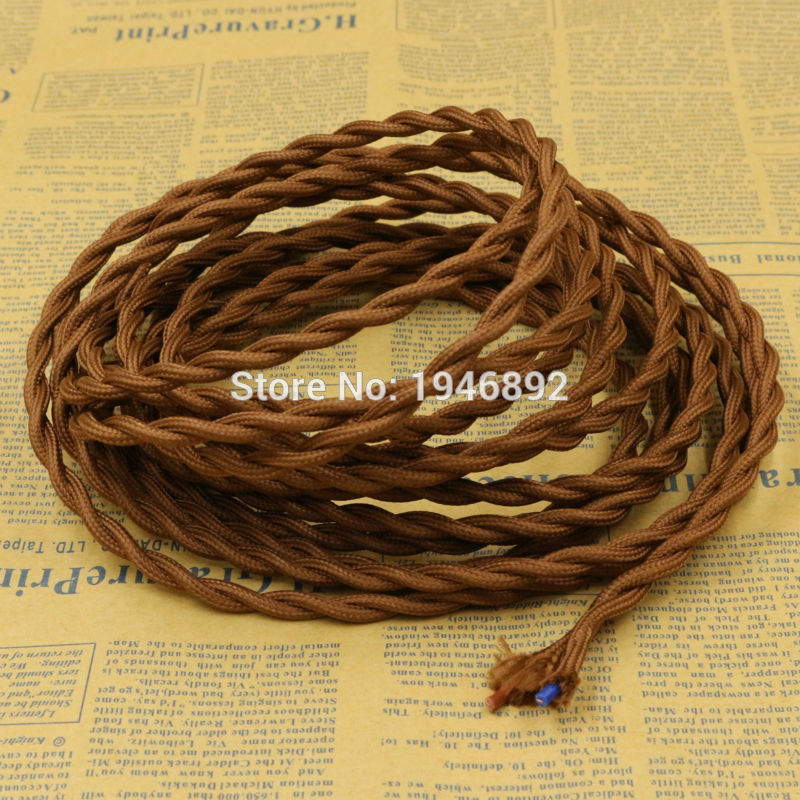 5m 2x0.75 8 Colors Braided Wire Fabric <font><b>Cable</b></font> Braided Retro Braided Wire Electrical Wire Wire Pendant DIY Vintage Lamp <font><b>Cable</b></font> image