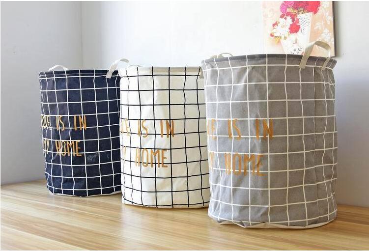 Laundry Bag Storage Basket Folding Linen Cotton Clothing Toys Sundries Storage Basket Organizer Socks Clothes Home Storage