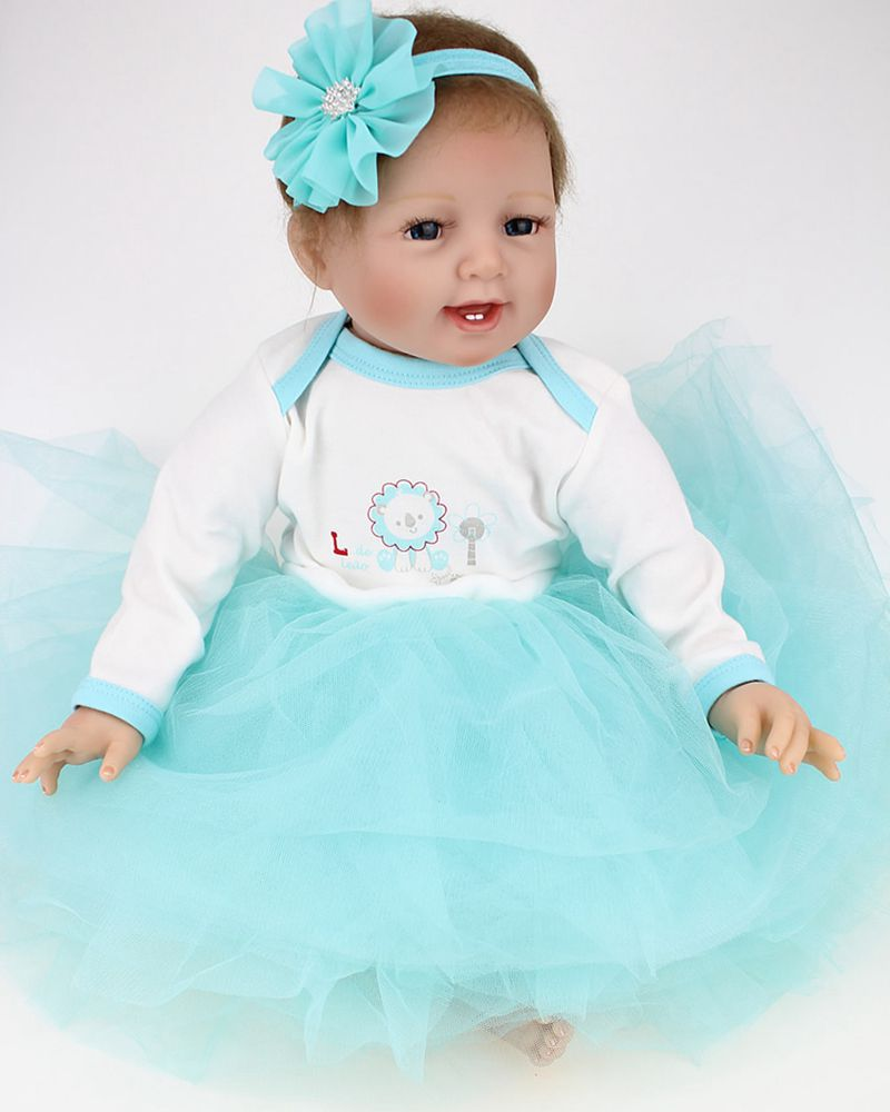 22 Silicone Reborn Doll Real Look Fake Babies Girl Alive with Tutus Nursery Training Toys Collect
