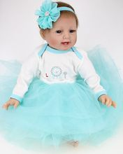 22″ Silicone Reborn Doll Real Look Fake Babies Girl Alive with Tutus Nursery Training Toys Collect