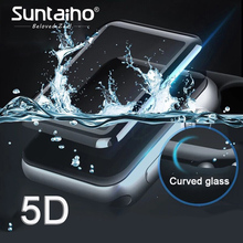 Suntaiho 5D Full Cowl Edge Tempered Glass For Apple Watch 42 38 mm Sequence three 2 1Screen Protector For Watch Movie Safety Glass