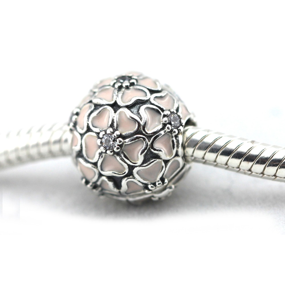 4088c548e Fits for Pandora bracelets 2016 Spring new Cherry blossom clip charm 100%  925 sterling silver jewelry DIY Making LE28