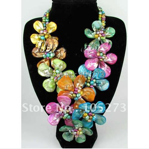 Beautiful Multicolor Genuine Pearl & Natural Shell Flower Necklace / Earring Jewelry Set Fashion Flower set Free Shipping FN1594 цена и фото