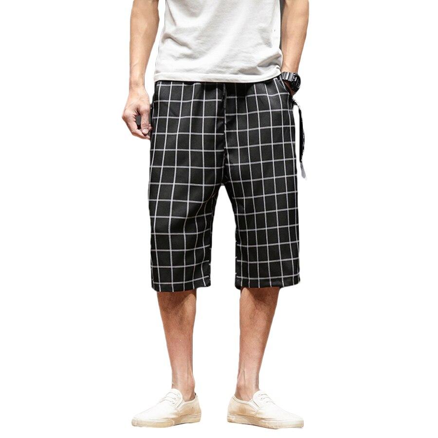 Plaid Vintage Linen Shorts Men Plus Size Long Street Mens Fashion Shorts Checkered Casual Bermuda Masculina Hip Hop Short Man