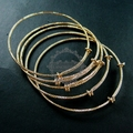 65mm diameter 14K light gold plated brass faceted simple adjustable wiring bracelet for beading 1900076