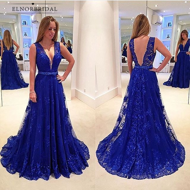 Royal Blue   Evening     Dresses   2019 Sexy Deep V Neck Formal Women Prom Gowns A Line Lace Robe De Soiree Special Occasion   Dress