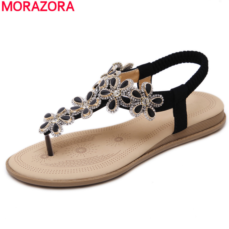 MORAZORA Big size 34-41 New 2018 fashion shoes women Bohemia flat sandals crystal summer shoes flip flops ladies sandals new 2018 women open toe flip flops fashion ankle strap gladiator sandals women big size 34 43 ladies casual flat rome sandals