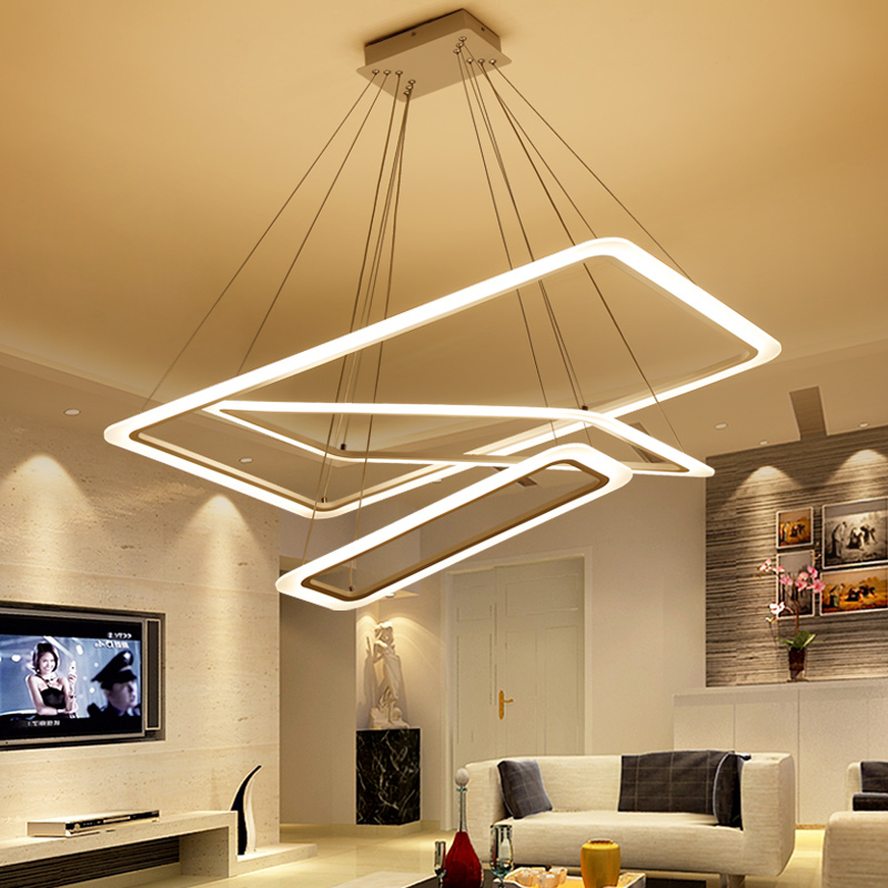 Modern 4 square rings LED Pendant Lights acrylic metal suspension hanging ceiling lamp for For Living