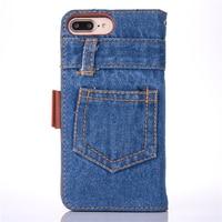 Retro Denim Cloth Phone Case For IPhone 6 6s 7 7 Plus Case Flip Stand Card