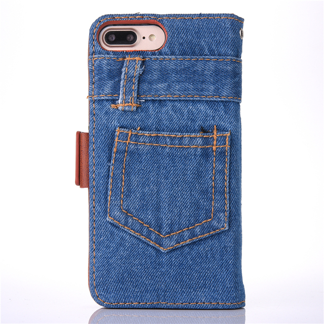 luxury jeans leather wallet phone case for iphone x 6 6s 7 8 plus flip stand
