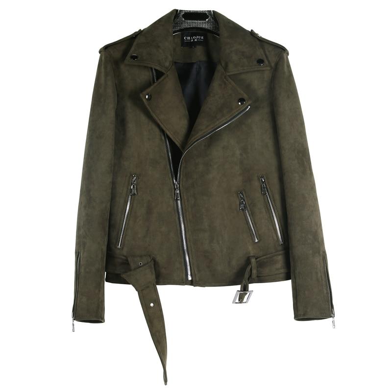 CHAOJUE Brand Short Top Suede Coat Mens 2018 Autumn/Winter Personality Army Green Zip Biker Jacket Male Cool Locomotive Jackets