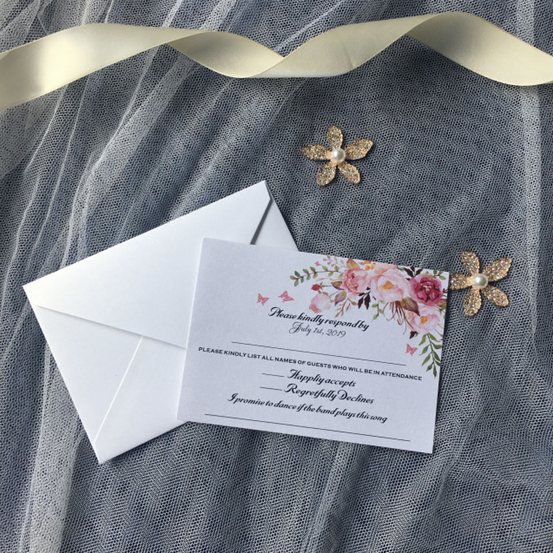 120pcs Lovely Charming details Wedding RSVP Response Cards Personalized cards with butterfly decoration for wedding invitations