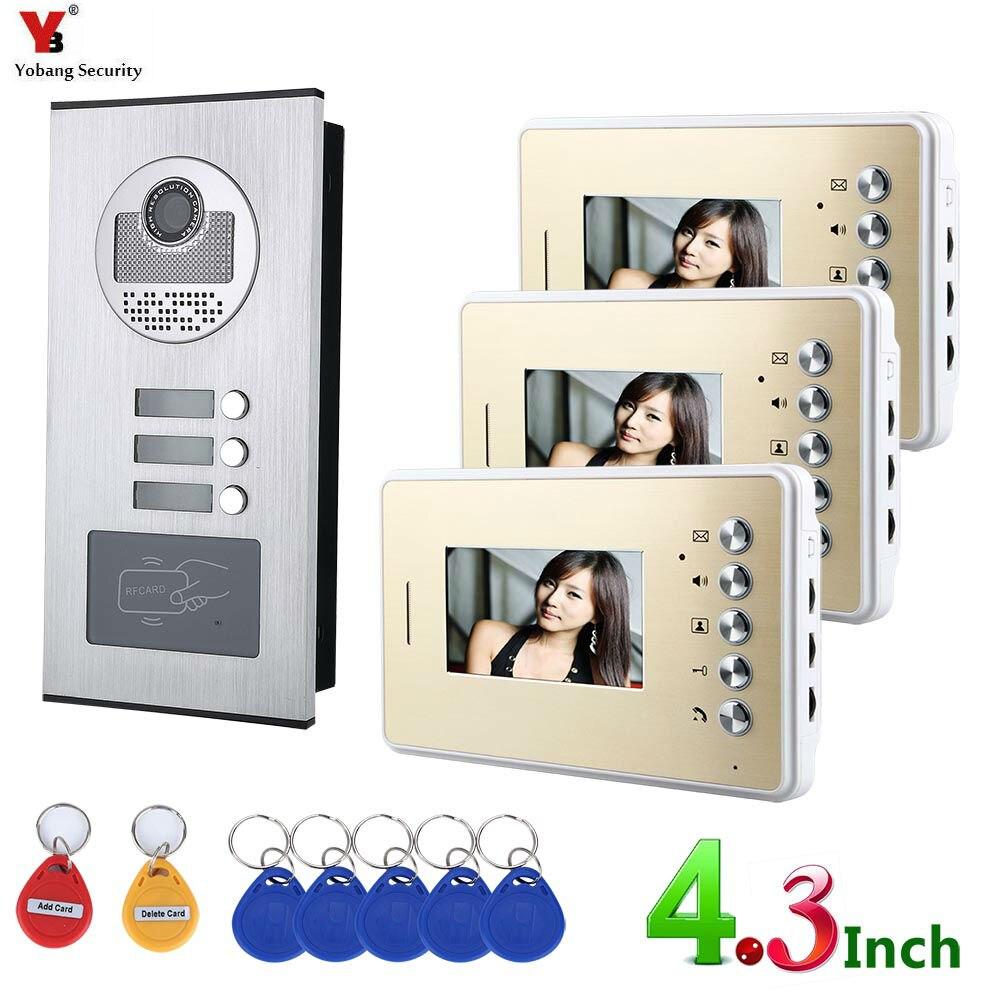 YobangSecurity Video Door Intercom Kits For 3 Stories Buildings Apartments RFID Doorbell Door Phone Intercom Security System