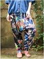 Print Aladdin Harem Hippie Pants Jumpsuit Smocked Floral Print Baggy Boho Harem Pants