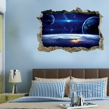 Creative 3D Cosmic Space Wall Sticker Galaxy Star Bridge Home Decoration for Kids Room Living Decals Decor Poster