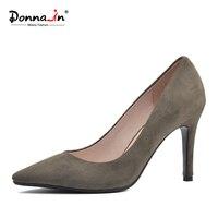 Donna-in 2017 Yeni Stil Yüksek topuklu Topuklu pompalar Doğal süet deri Seksi Sivri Burun Ofis Single kadın Ayakkabı