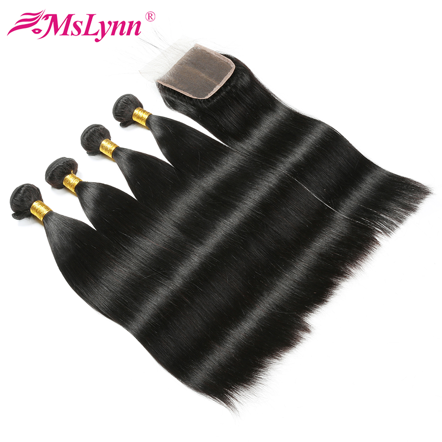 Mslynn Brazilian Straight Hair Weave Bundles With Closure 100% Human Hair 4 Bundles With Closure Non Remy Hair Extensions 5 Pcs