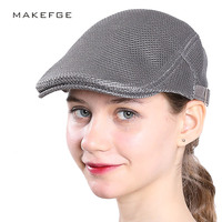 Beret Caps For Men Women Spring Summer Gatsby Cap Outdoor Breathable Bone Brim Hats Herringbone Solid