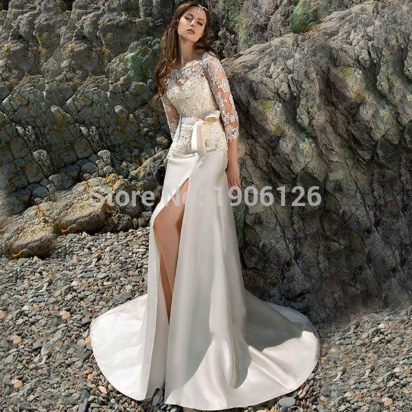 Marfil de bohemia del cordón Vestido de boda del satén vestidos ...