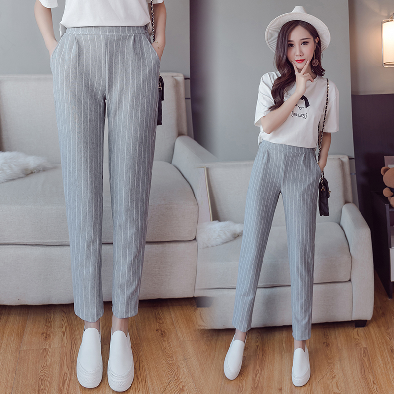 spring summer female elastic waist stripes Casual style peneil pants women pants work wear trousers harem pants drop shipping