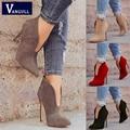Модная женская обувь на весну-осень  новый стиль  флоковые короткие ботинки на очень высоком каблуке  однотонные женские ботинки с острым но...