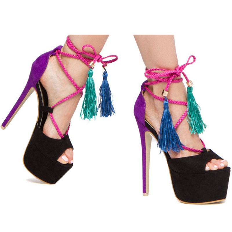 promotion lace up high heel gladiator sandal bling platform sandals new arrival wedding party summer dress shoes women Sexy Ladies Summer High Platform Multi Tassel Lace up Ultra High Heel Sandals Women Ankle Strap cut out Party Dress Sandal Shoes