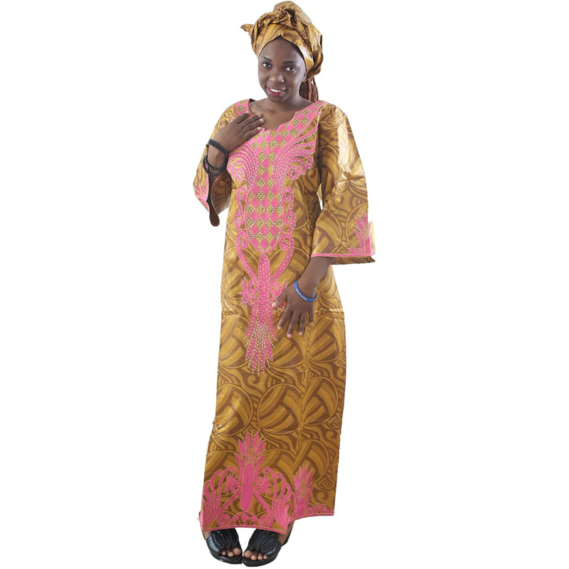 MD 2019 south africa dresses for women bazin dashiki african women dresses embroidery women african clothes dress and head wraps in Africa Clothing from Novelty Special Use