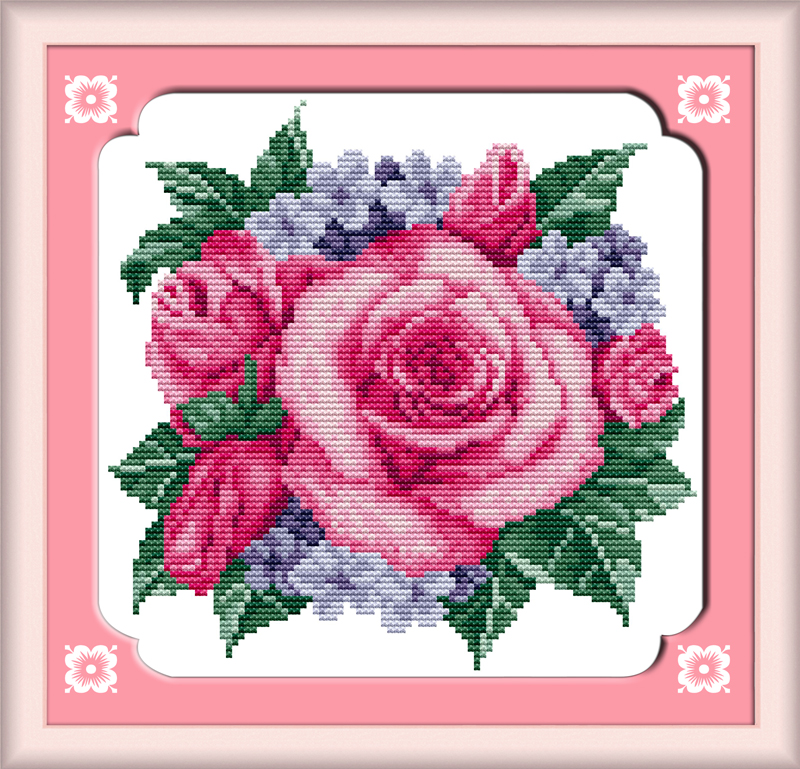 Rose Piano Red Flower Canvas Dmc Cross Stitch Kits Cotton Accurate Printed Embroidery Diy Handmade Needle Work Wall Home Decor Electronic Components & Supplies