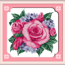 Rose Clumps Flower DMC Cross Stitch Kits 14CT White Canvas 1