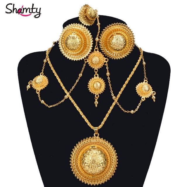 NOVO Etíope nupcial Conjunto de jóias de Ouro 24 K banhado Casamento Africano Definir estilo Habesha A30036