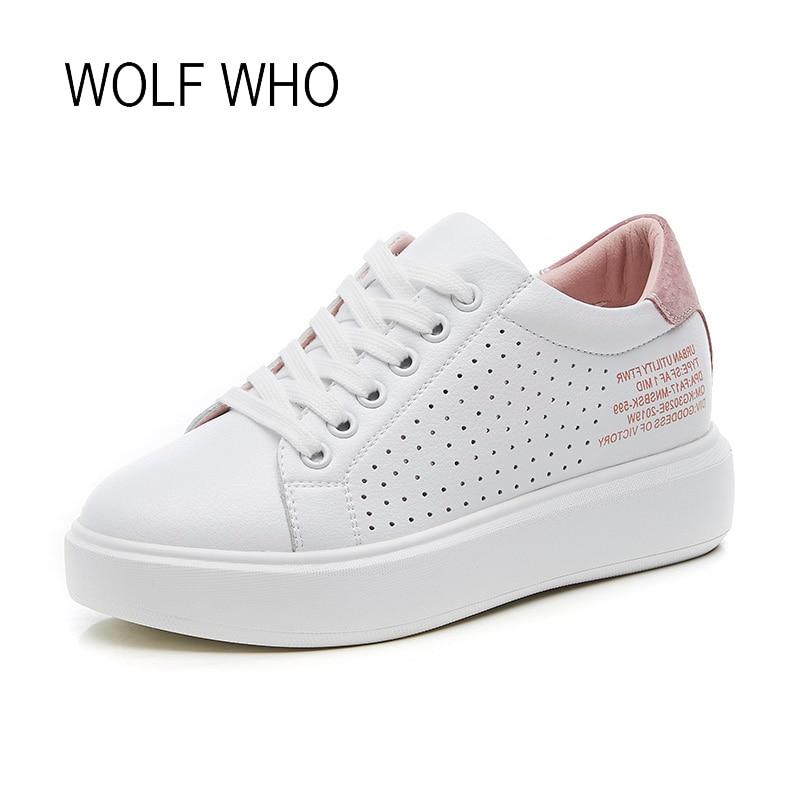 WOLF WHO 2018 White Women Sneakers Flatform Ladies Platform Shoes Tenis Femininos Casual Basket Femme Chaussure Femme h-315 wolf who women winter shoes fur wedge fashion sneakers women hidden heels basket femme tenis femininos casual h 152