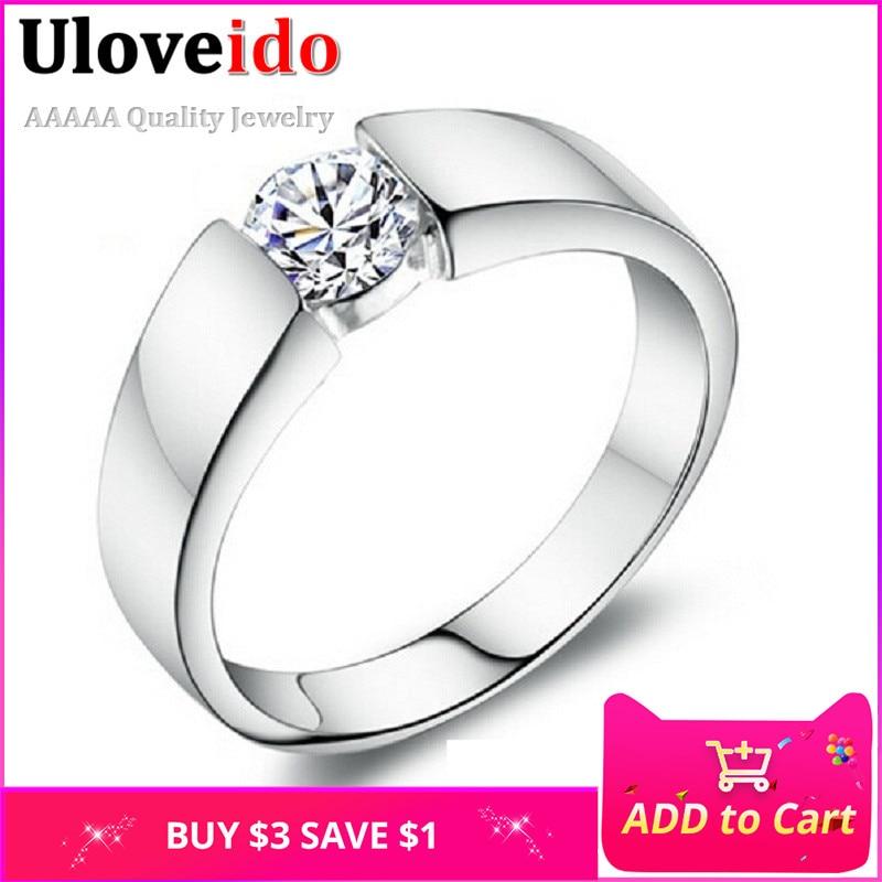 Uloveido esküvői gyűrűk nőknek / férfiaknak Kristály Vintage férfi gyűrű férfi ékszerek Anel Masculino Bijouterie 2018 Uloveido J002