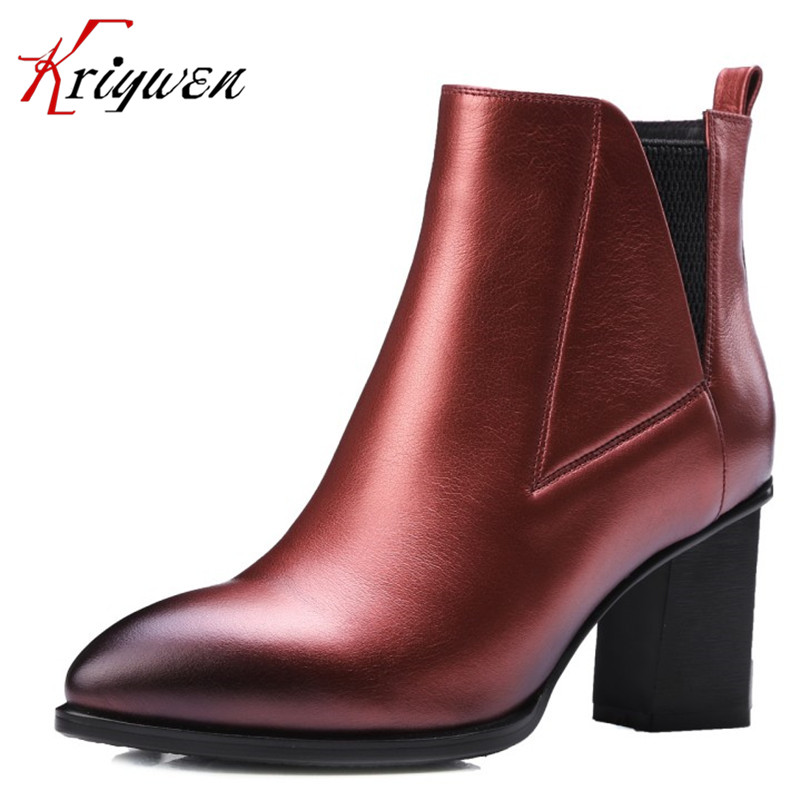 100% Genuine natural leather large size 34-42 Fashion Pointed toe zipper Ankle Boots 2016 Brand Autumn winter party Shoes Woman