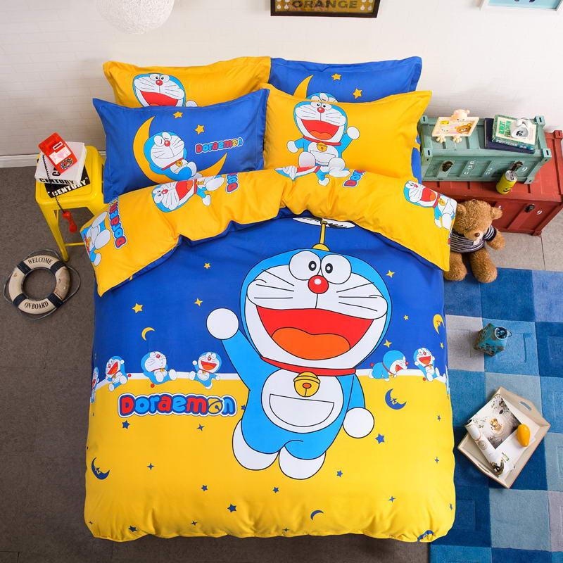 HOT SALE fibrics Doraemon bedding set3/4 pcs bed clothes for bed Queen size