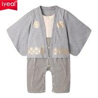 IYEAL ילדים יפני קימונו סגנון תינוק בני פעוט תינוקות כותנה קימונו ילדי בני סרבל בגדי תלבושות
