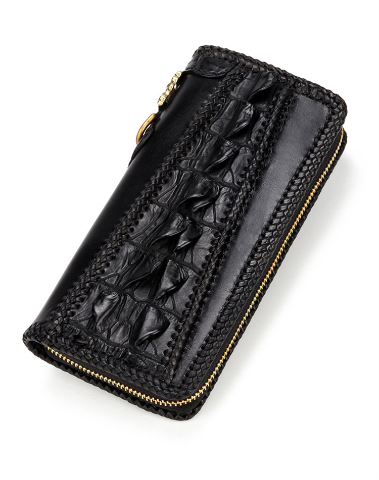 Handmade Knitting Men Genuine Leather Card Holder Alligator Long Wallets Black Purses Clutch Vegetable Tanned Leather Wallet luxury brand handmade genuine cowhide vegetable tanned leather men wowen long slim wallet wallets purse card holder clutch bag