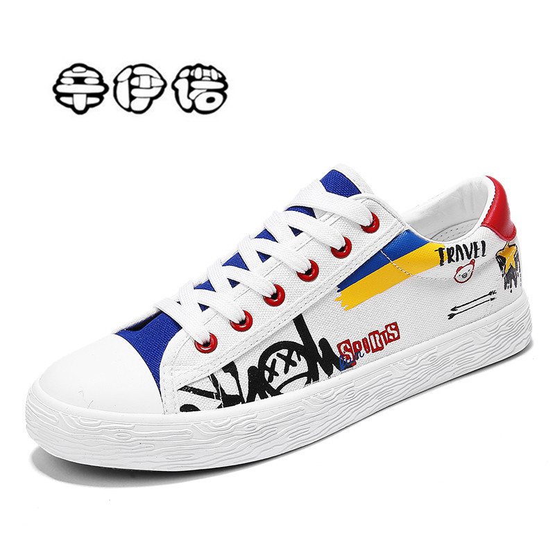 New 2018 Fashion Men Vulcanized Shoes Sneakers Hip Hop Lace-up Casual Shoes Breathable Walking Canvas Shoes Graffiti Flat printed assassins creed canvas shoes fashion design hip hop streetwear unisex casual shoes graffiti women flat shoe sapatos