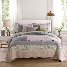 CHAUSUB Bedspread Quilt Set 3pcs Cotton Quilted Coverlet Korea Handmade Patchwork Quilts Bed Cover King Queen Size Blanket