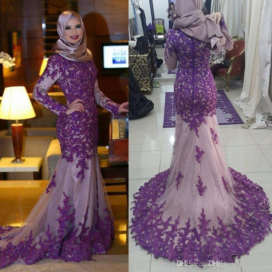 Cheap Abiti da cerimonia da sera Muslin Long Mermaid   Evening     Dresses   Mid East Prom   Dresses   Custom Made Robe de soiree