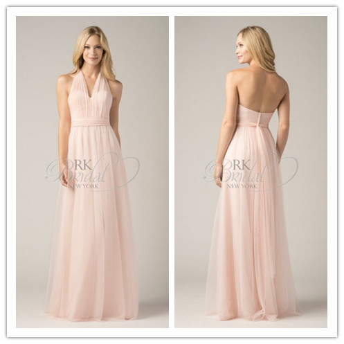 BD2584 Light pink halter chiffon bridesmaid