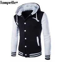 3d25748f46 Autumn Winter Men S Hooded Baseball Jacket Cotton Slim Fit White Male  Hoodies Patchwork Pattern Button