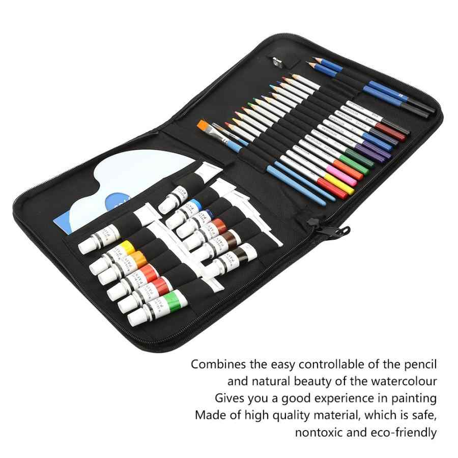 31 piezas artista Soluble en agua dibujo lápiz coloreado acuarela acrílico pigmento conjunto agua soluble color plomo