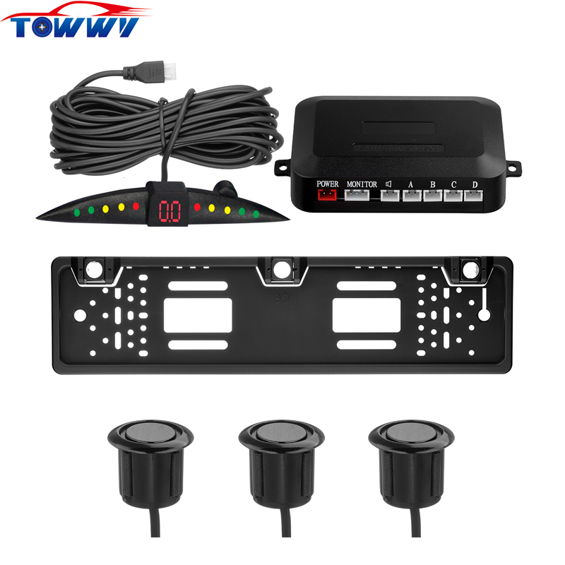 TY301L LED European Car License Plate parking radar Reversing System 3 Parking Sensors With BiBi Alarm