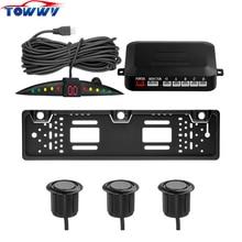 TY301L LED Европейский автомобилей номерных знаков Парковка радар заднего хода системы 3 датчики парковки Биби звуковой сигнал