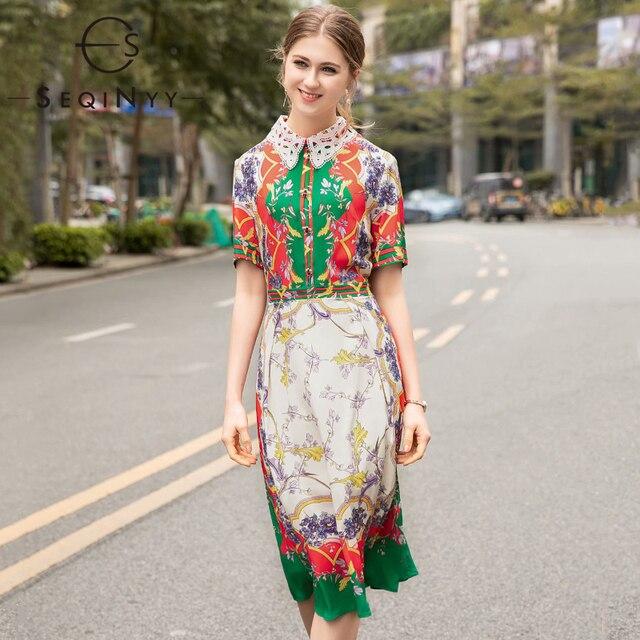 878ad2356 SEQINYY فستان مُزين بطباعة الزهور الأخضر الأحمر 2019 الصيف جديد تصميم  الأزياء شمسيّة دانتيل عالية الجودة قصيرة الأكمام الحيوان زر ضئيلة اللباس